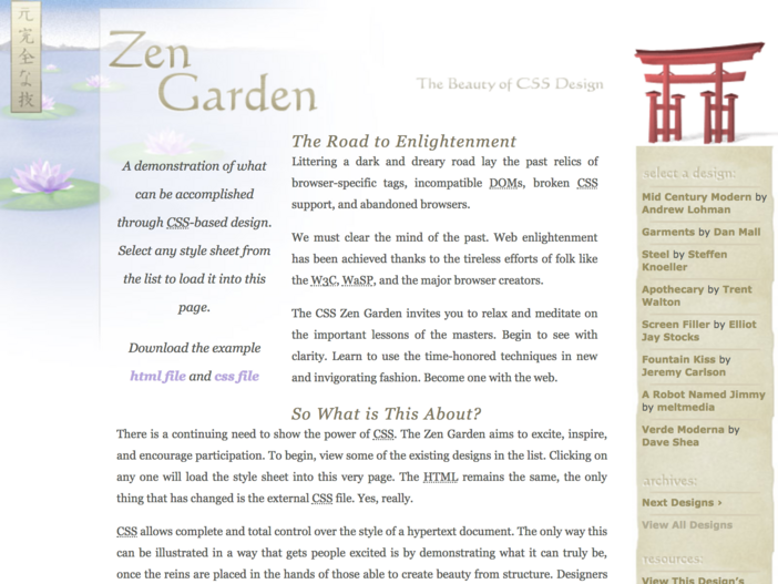 The first CSS Zen Garden theme 'Tranquille' by Dave Shea